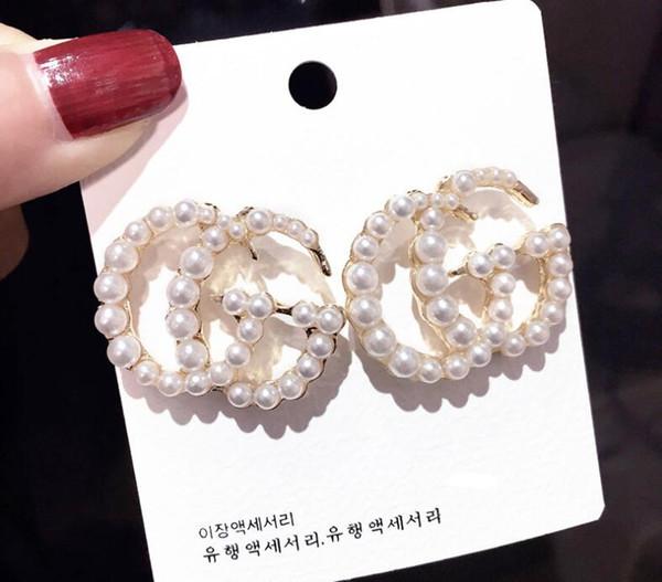 2019 Fashion G Letter Designer Luxury Orecchini S925 Argento Orecchini a bottone con ago in cristallo con perla regalo in cristallo
