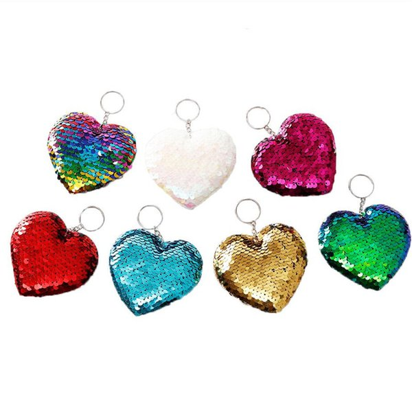 Sequins Mermaid Unicorn Flamingo Key Ring Keychain Sequined Glitter Star Heart Key Chain Keyrings Car Bag Pendant Charms Party Gifts A5701