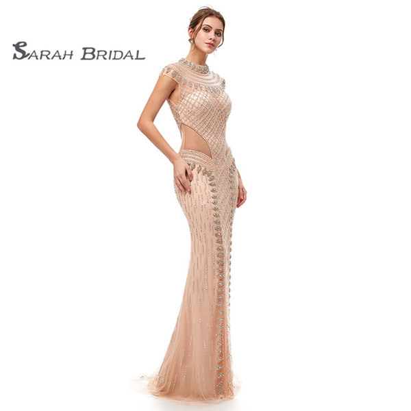 Lujo sirena de cristal rubor de tul vestidos de fiesta de baile 2019 Champagne sexy sin espalda Vestidos De Festa noche Ocasión vestido 5401
