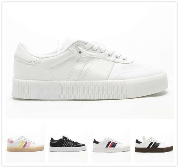 YENI 2019 Sambarose W Erkek Erkekler Kadınlar Yüksek Kalite Beyaz pembe Siyah Klasik Düz Bir Platform Ayakkabılar Moda tahta ayakkabı Boyutu ABD 5-10