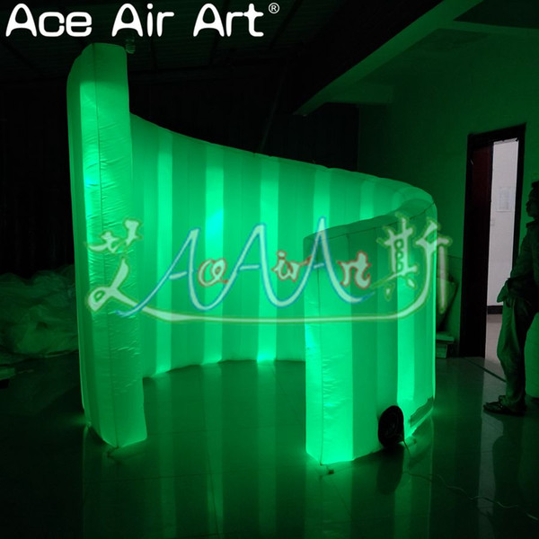 easy potable rental inflatable spiral curved wall with led light for stage