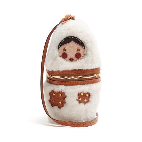 Poupée russe sac à main poilue, nouvelle sacoche en velours pour femme, mini portefeuille mignon de mode d'hiver