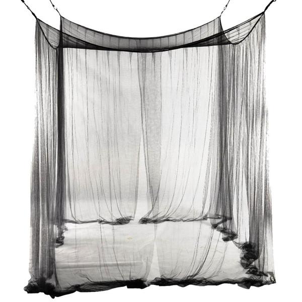 New 4-Corner Cama Rede Canopy Mosquiteiro para Rainha / King Size Cama de 190 * 210 * 240 cm (Preto) Cama Mosquiteiro
