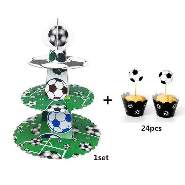 1set Soccer Football 3 Tier DIY Paper Cupcake Stand + 24 sets Cupcake Wrappers & Toppers For Kids Birthday Party Cake Decoration
