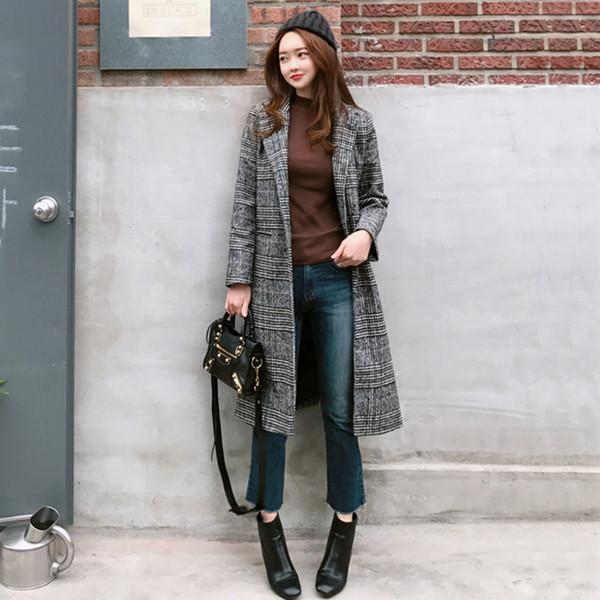 2019 Spring Women Wool Plaid Coat New Fashion Long Woolen Female Coat Slim Type Winter Wool Jackets Outwear