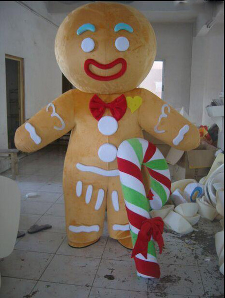 100% real product pictures Hot sales gingerbread man Mascot Costume Adult Size! EMS free shipping