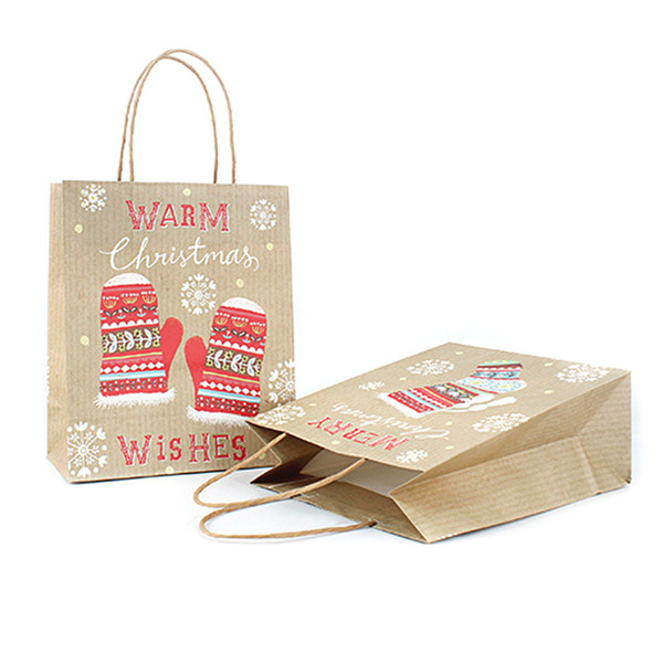 4 different styles of kraft paper square tote bag gift bag Christmas gift Christmas new year party supplies