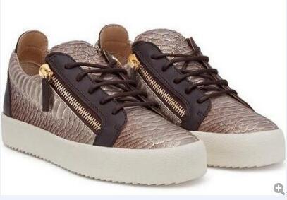heißer Verkauf Italien-Luxuxentwerfer-Schuhrot-Blau Farbabgleichender Reißverschluss-Männer und Frauen-niedrige Spitzenflache Schuh-echtes Leder geben Verschiffen frei