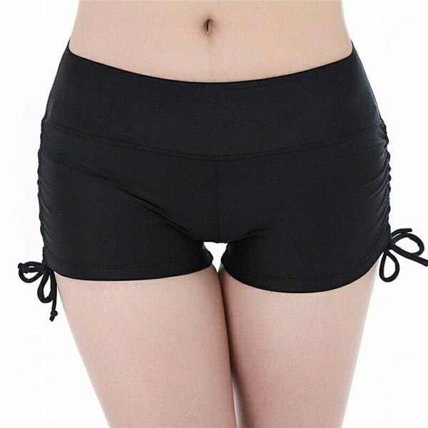 Sınır ötesi 2019 Dış Ticaret Yüzme Pantolon Bayanlar Alt Düz Açı Spor Yoga Şort Emniyet Plaj Pantolon Çizim Halat
