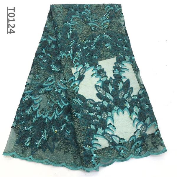 Nueva alta calidad del diseño de África encaje de tul bordado Tela francesa neto de las lentejuelas cordón para Nigeria vestido de fiesta