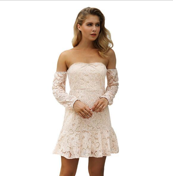 New European and American small dress halter sexy lace dress women's explosion models fashion popular party dress Europe and America