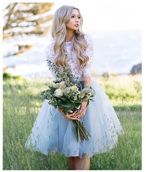 lorie_wedding / 2019 vestido de fiesta corto de encaje de manga corta de hadas 2 piezas parte inferior de la rodilla hasta la rodilla vestido de fiesta elegante vest