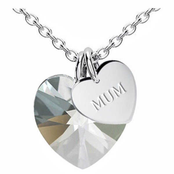 Fashion Heart Pendant Necklace Mother's Day MUM Gift Love Mother's Day Ornament Crystal Heart Women Pendant Necklace