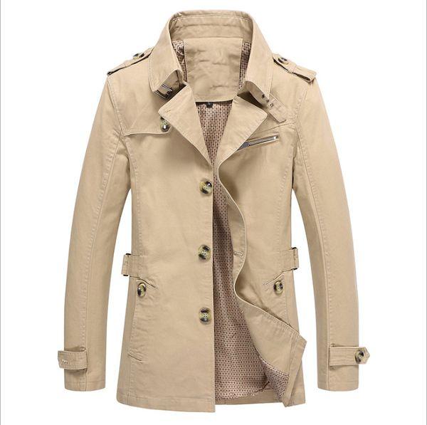 foreign trade autumn jacket mens coat washed men's windbreaker Korean manufacturers Trench coat men green black blue khaki jacket