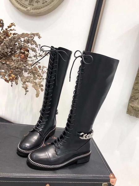 Catene del progettista delle donne di modo Lace Up Coscia-alta stivali sexy Chunky Tacchi marca del cuoio genuino Martin Long Boots Size 35-41