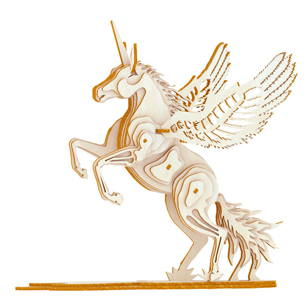 Home Decor Home & Garden 3d Wood Puzzle Unicorn Wooden Puzzle Simulation Animal Assembly Puzzle Model Jigsaw Game Creative Diy 3d Unicorn Nature Gift