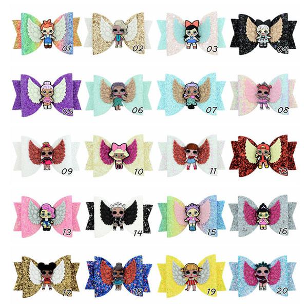 Sürpriz Kızlar Firkete Bebek Pullu Glitter Yay Klipler Kızlar Ilmek Barrette Çocuk Saç Butik Yaylar Çocuk Saç Aksesuarları Sıcak A4406