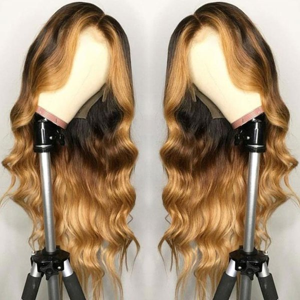 Brazilian Full Lace Remy Hair 13X6 Lace Front Wig Wavy Ombre Blonde Highlights Color Middle Part Pre Plucked