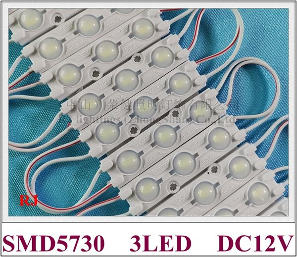 LED module aluminum PCB board PVC injection with wide angle lens IP65 LED module for sign letter DC12V 3led 1.44W SMD 5730