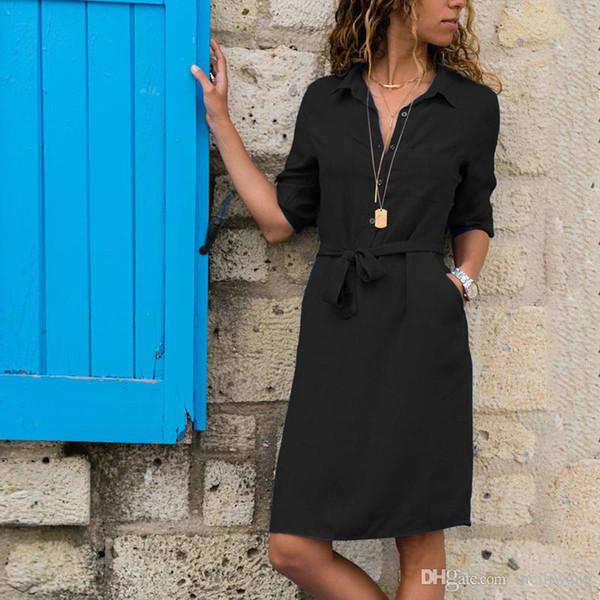 Half Sleeve Turndown Shirt Dress Women Soild Fashion Pocket Sashes Casual Straight Dresses Vestidos Summer New Knee-Length Dress