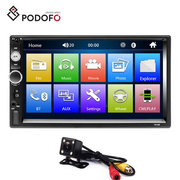 Podofo Autoradio 2 Din Car Radio 7'' HD Touch Screen Bluetooth FM USB AUX SD Car DVD Player+ 4 LED Rear View Camera