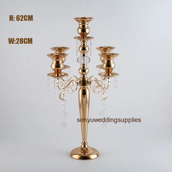 Новый стиль 5 руки канделябры золота металла для свадьбы главной центральной senyu0351