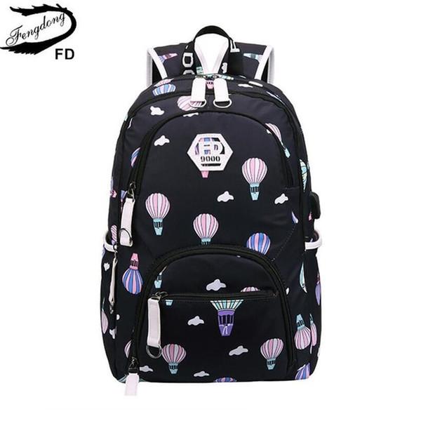 FengDong kids waterproof school backpack for girls school bags cute ballon printing laptop backpack children backpacks schoolbag #89606