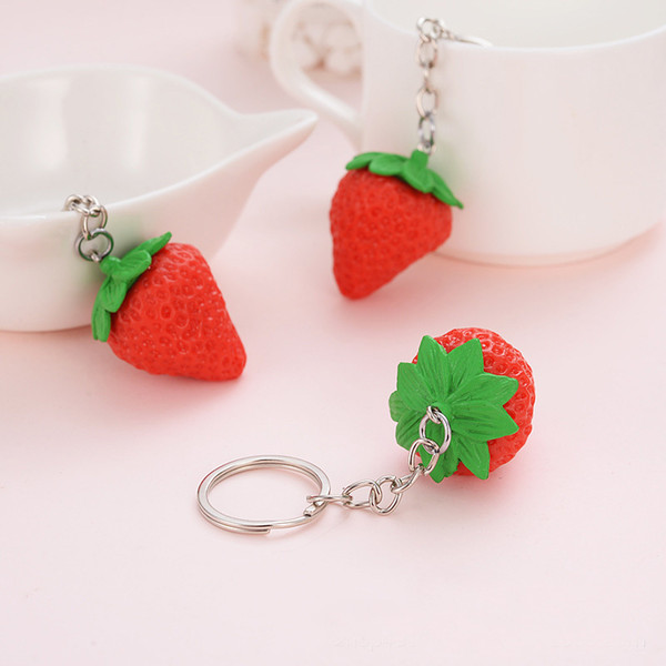 top popular Strawberry keychain Red Lovely Charm Pendent Pendant Purse Bag Car Key Ring Chain Jewelry Gift Fruit Series New Fashion 2019