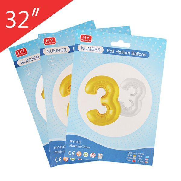 32 Inch Number Balloons Paper Card Individual Packaging Aluminum Foil Balloon Wedding Birthday Decoration CE Passed
