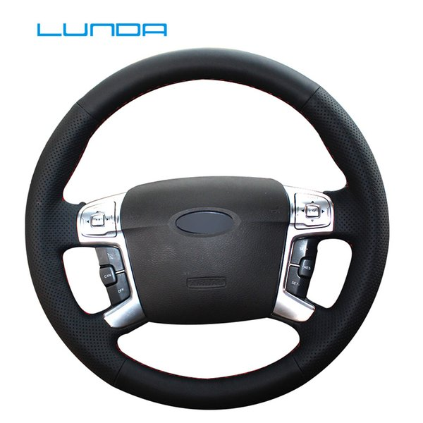 LUNDA Hand-stitched Leather Car Steering Wheel Cover for Ford Mondeo 2007-2012 Mk4 Auto Accessories