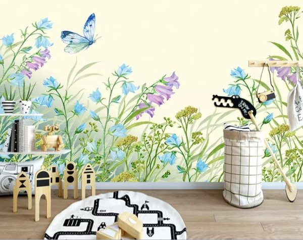 Custom 3D photo wallpaper flower wall papers home decor wallpaper for kids room Leaf floral watercolor style TV background wallpaper