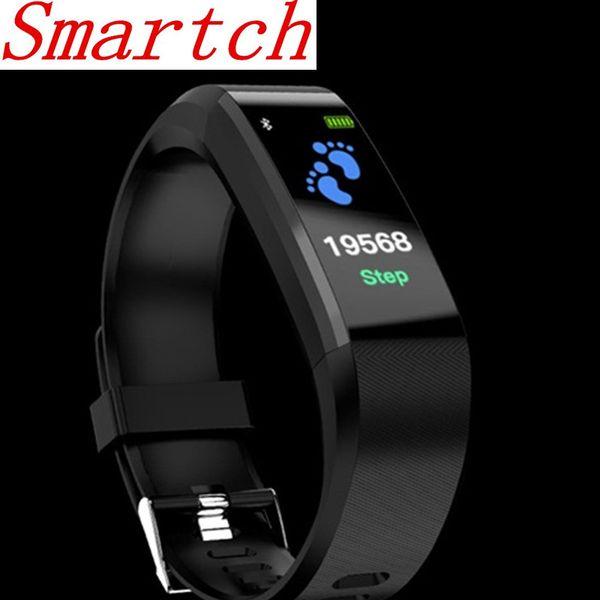 Smartch ID115HR PLUS intelligente Bracciale di sport Wristband con cardiofrequenzimetro Fitness Tracker cinturino per il telefono pk S2
