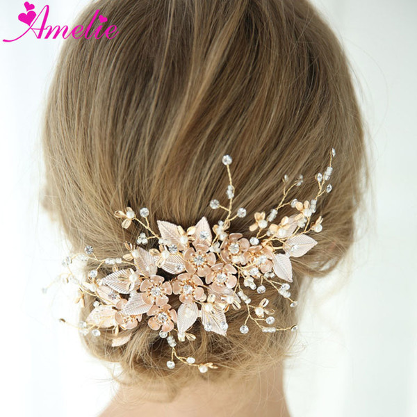 beach shower wedding headpiece floral and leaf gold hair comb bridal hair accessories flower women jewelry