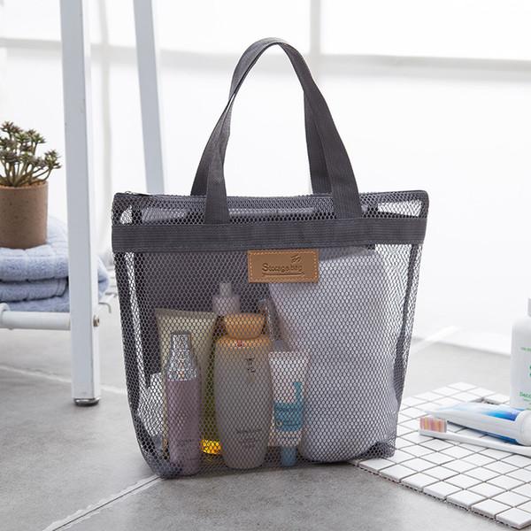 Tragbare Mesh Transparent Kulturbeutel Handtasche Große Kapazität Cosmetic Organizer Taschen Outdoor Reise Strandtasche Make-Up Einkaufstasche VT1557