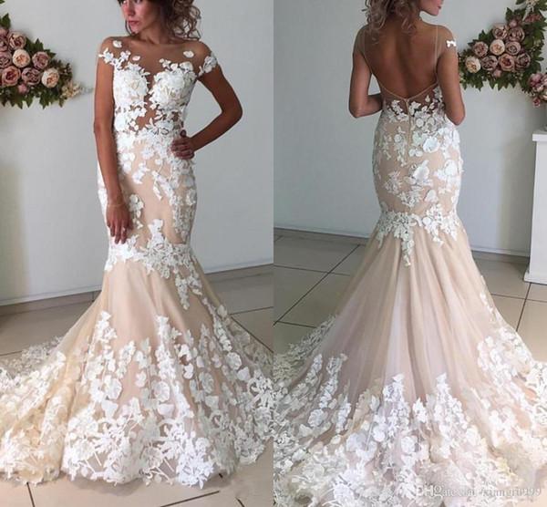 Винтажное свадебное платье русалки с шампанским Прозрачное свадебное платье без бретелек с белым аппликацией и длинным свадебным платьем с аппликацией