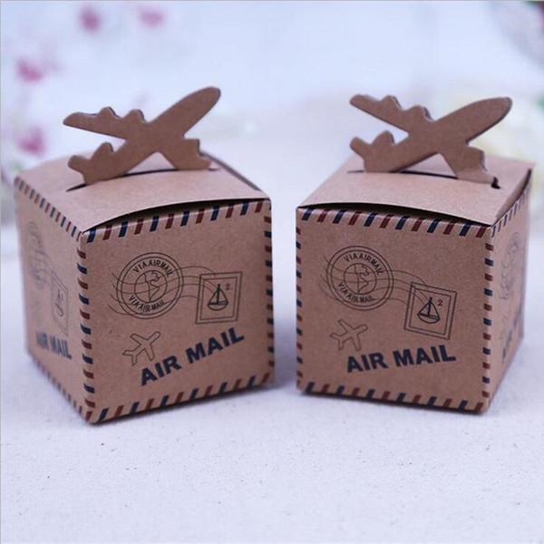 50 unids Papel Kraft Avión de Boda Caja de Dulces Dulces Cajas de Regalo Recuerdos Decoración Del Partido Boda Fiesta de Cumpleaños Suministros para Eventos
