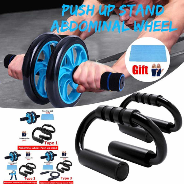 top popular 5 in 1 Ab Roller Set Abdominal Wheel Ab Roller with Push-Up Bar & Mat&Jump Rope For Arm Waist Leg Exercise Gym Fitness Equipment 2021