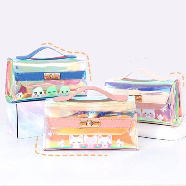 large capacity laser transparent pencil bag student mother and child storage cosmetic bag internet celebrity pencil box