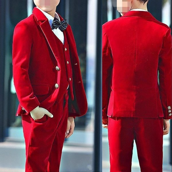 Red Velvet Boy Tuxedos 2019 Costume Made Ring Bearer Suits Boy Birthday Party Suit Kid Wedding Suits (Jacket+Pants+Vest+Bow)