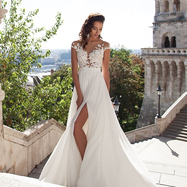 Cheap Sexy White Beach Wedding Dresses Bohemian Beach Sheer Neck High Side Split Chiffon Lace Applique Wedding Dresses Bridal Gowns