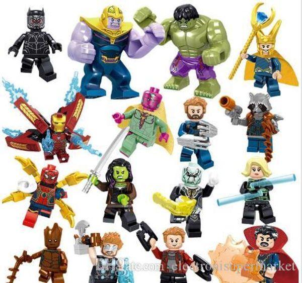 UK chanceux Avengers 3 Endgame Loki Noir Pather Iron Man Tony Stark Hulk Thanos Thor Vision Mini Toy Figure Building Block Assebmle Bloc