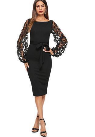 Schwarze Partei elegante Blume Applique Kontrast Mesh Ärmel Formschluss Belted festes Kleid Herbst Frauen Streetwear Kleider