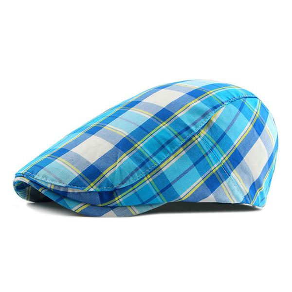 2018 New Casual Retro Hat Ladies Men and Women Spring Summer Sun Plaid Plaid Forward Hat Ladies Newsboy Cap