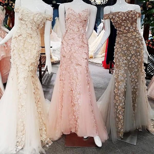 2019 Sequins Lace 3D Flowers Off-Shoulder Lace Up Mermaid Prom Dresses Real Photos Vestido De Festa Vestidos De Festa Vestido Para Casamento