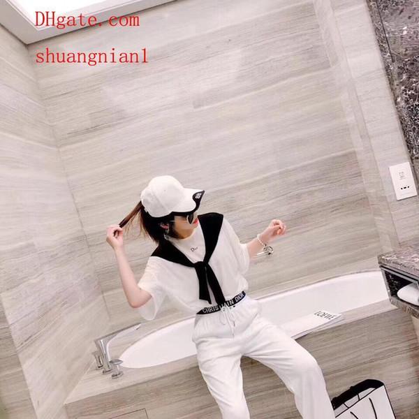 Ropa para mujer 2019 Chándal trajes de dos piezas traje de 3 piezas Carta chal + camisa de manga larga + pantalones de pierna ancha ropa de mujer PO-14