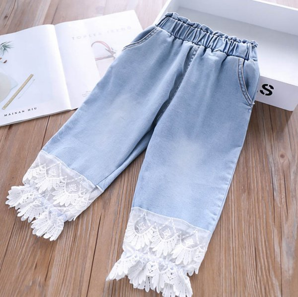 Fashion Kids jeans girls denim splicing lace gauze embroidery flare pants children double pocket elastic waist cowboy trouser F6814