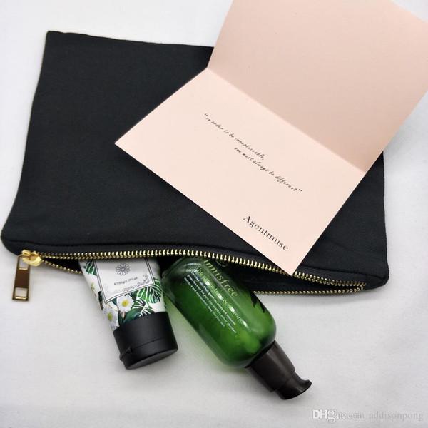 10pcs / lot 7x10inches toile de coton noir uni sac cosmétique avec sac de maquillage blanc doublure noire pour l'impression de bricolage libres DHL disponibles