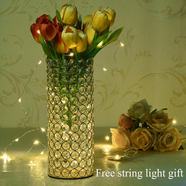 Crystal Metal Cylinder Glass Vases for Home Valentine's Day Table Centerpieces Decorations Birthday Anniversary Mother's Gifts