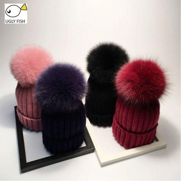 FISH FEO sombreros de invierno sombrero de pompón reales para las mujeres de punto Beanie sombrero del sombrero del invierno de las mujeres niñas Skullies Gorros MX191109