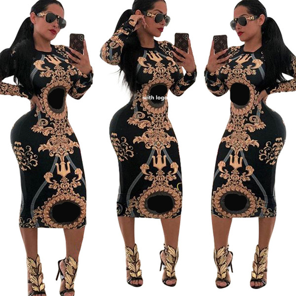 best selling Women Casual O-neck Print Long Sleeve Bodycon Party Long Dress Ladies Sexy Striped Clubwear Dresses